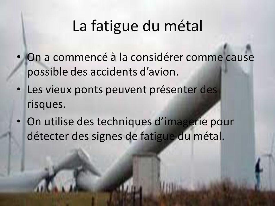 La fatigue du métal On a commencé à la considérer comme cause possible des accidents d'avion. Les vieux ponts peuvent présenter des risques.