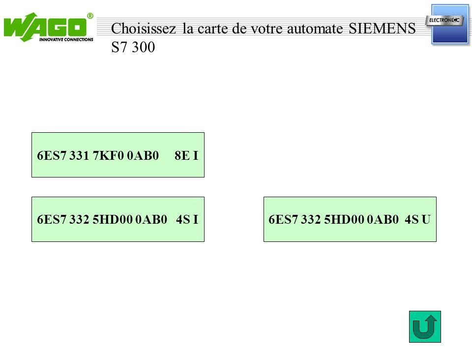 Choisissez la carte de votre automate SIEMENS S7 300