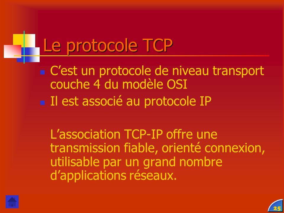 Le protocole TCP C'est un protocole de niveau transport couche 4 du modèle OSI. Il est associé au protocole IP.