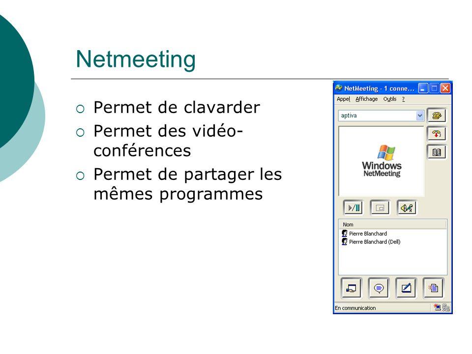Netmeeting Permet de clavarder Permet des vidéo-conférences