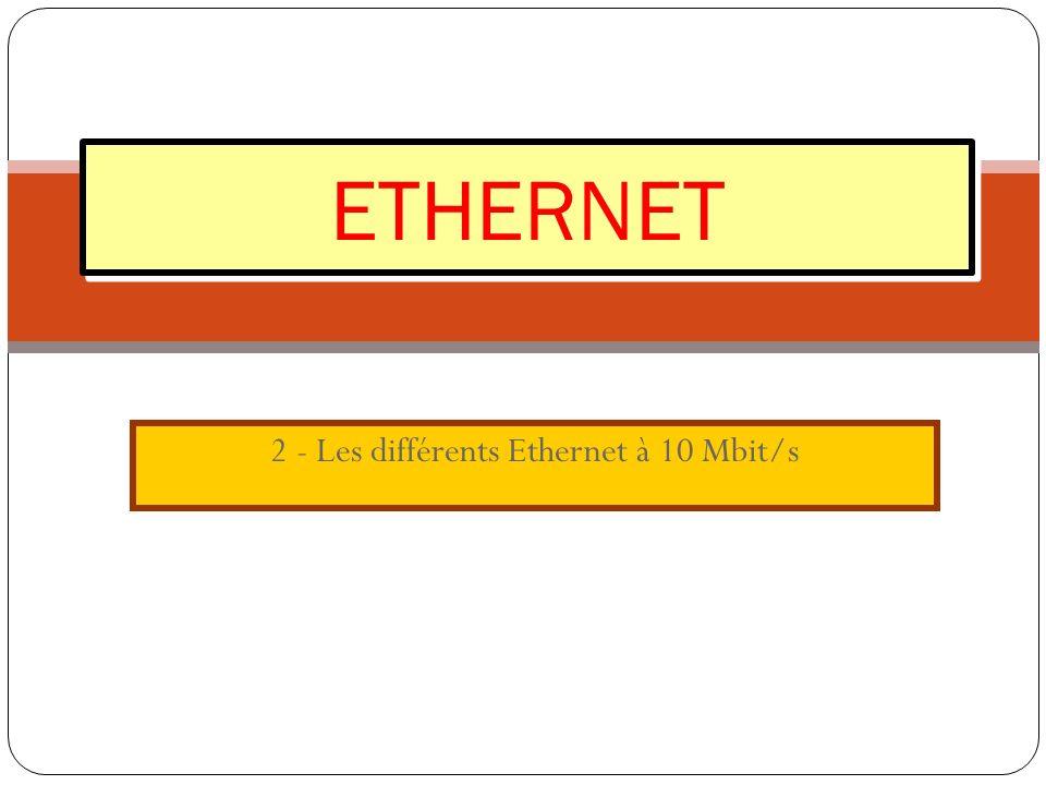 2 - Les différents Ethernet à 10 Mbit/s