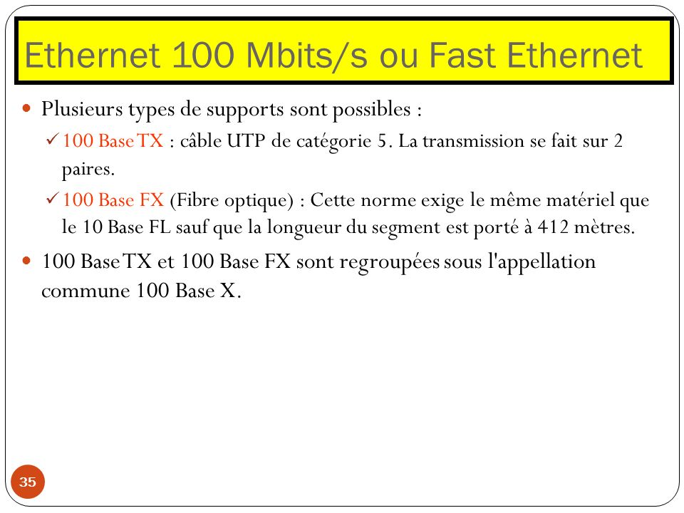 Ethernet 100 Mbits/s ou Fast Ethernet