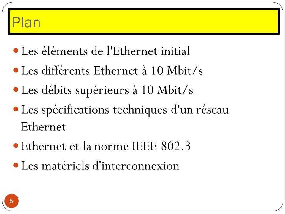 Plan Les éléments de l Ethernet initial