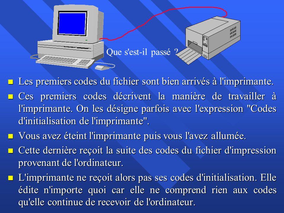 Les premiers codes du fichier sont bien arrivés à l imprimante.