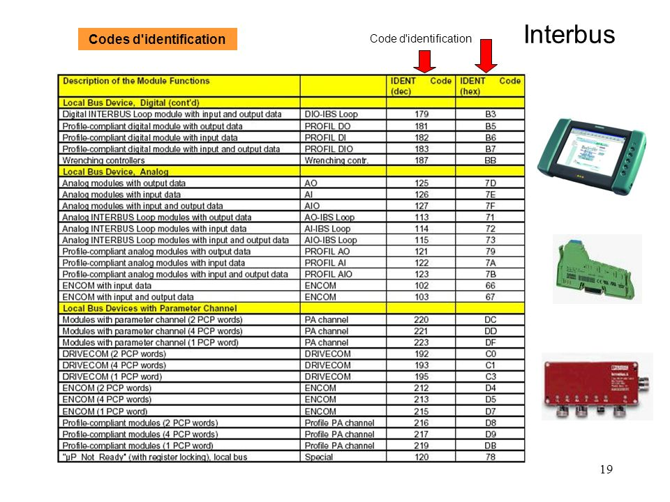 Interbus Codes d identification Code d identification