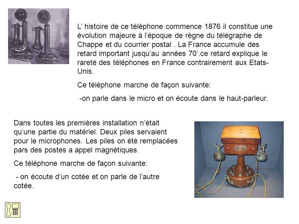 L' histoire de ce téléphone commence 1876 il constitue une évolution majeure à l'époque de règne du télégraphe de Chappe et du courrier postal . La France accumule des retard important jusqu'au années 70'.ce retard explique le rareté des téléphones en France contrairement aux Etats-Unis.