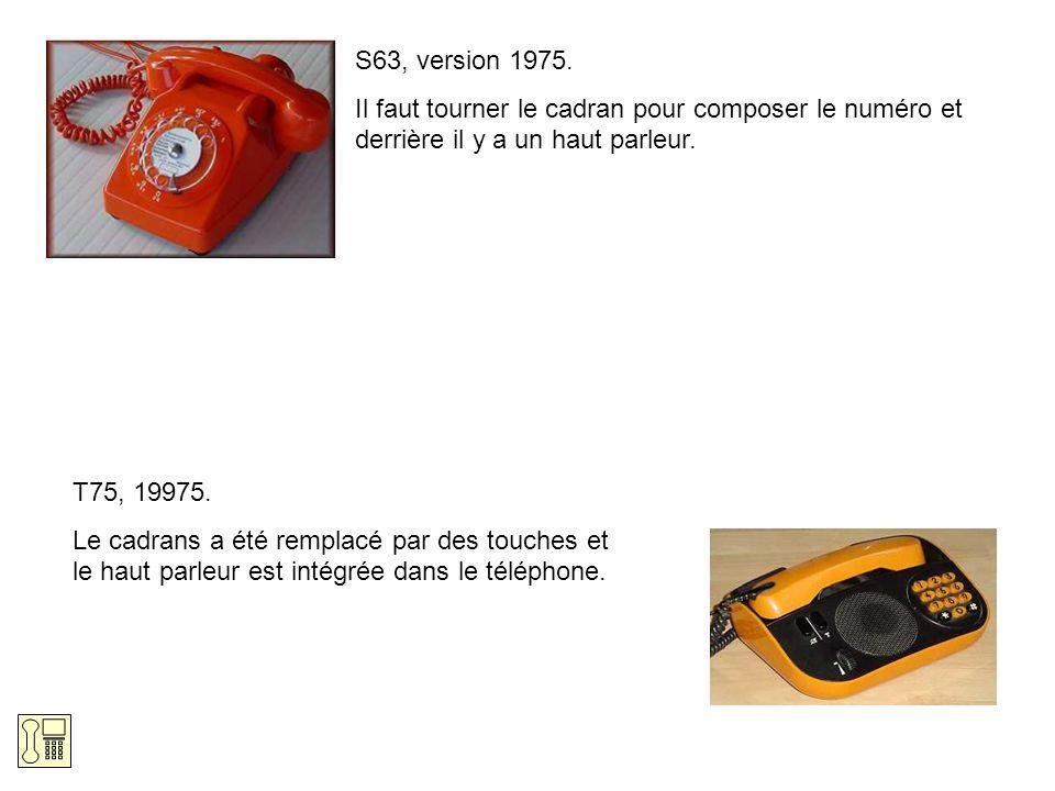 S63, version 1975. Il faut tourner le cadran pour composer le numéro et derrière il y a un haut parleur.