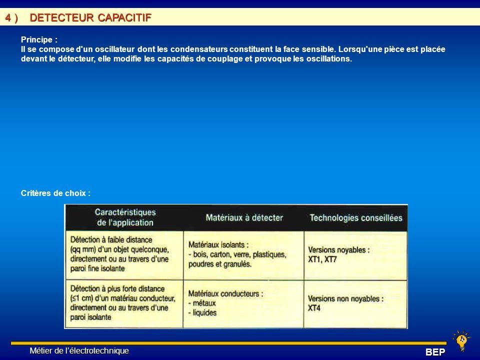 4 ) DETECTEUR CAPACITIF Principe :
