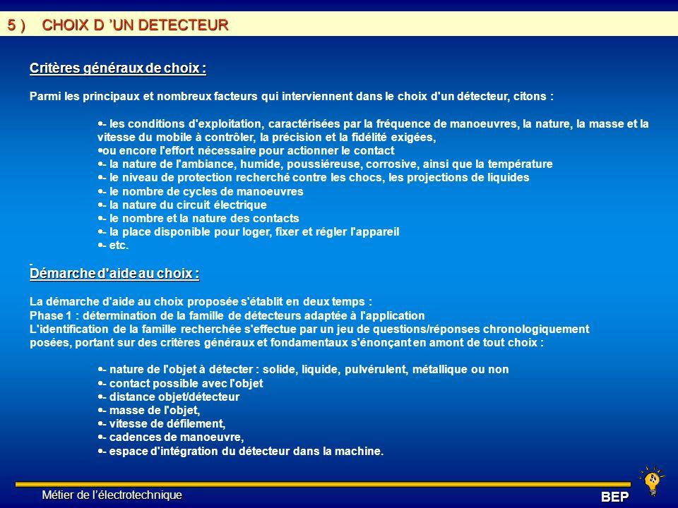 5 ) CHOIX D 'UN DETECTEUR Critères généraux de choix :