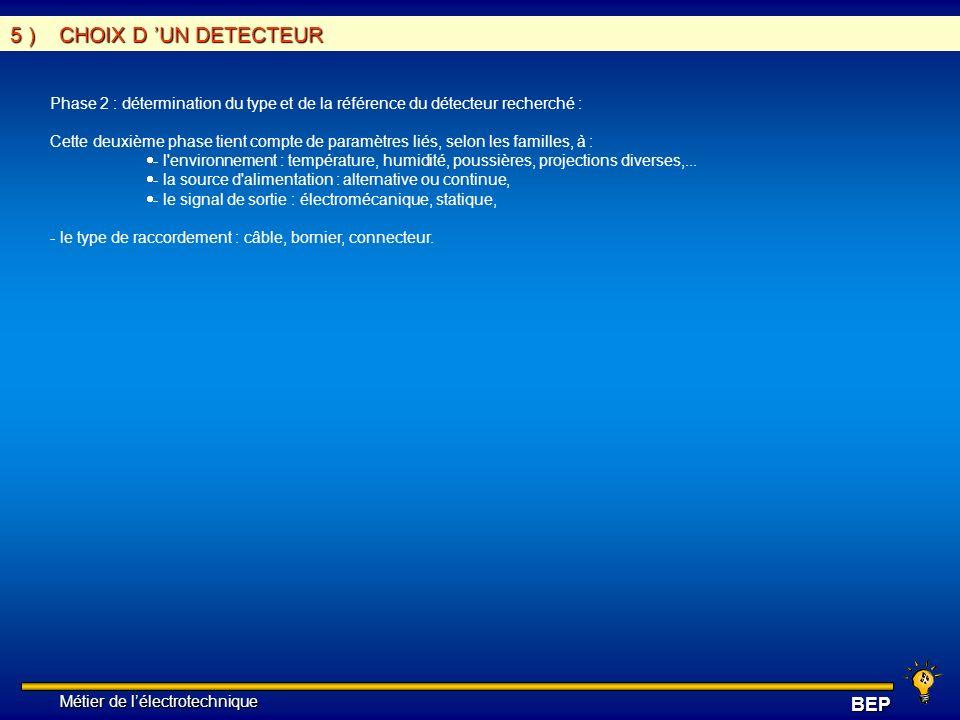 5 ) CHOIX D 'UN DETECTEUR Phase 2 : détermination du type et de la référence du détecteur recherché :