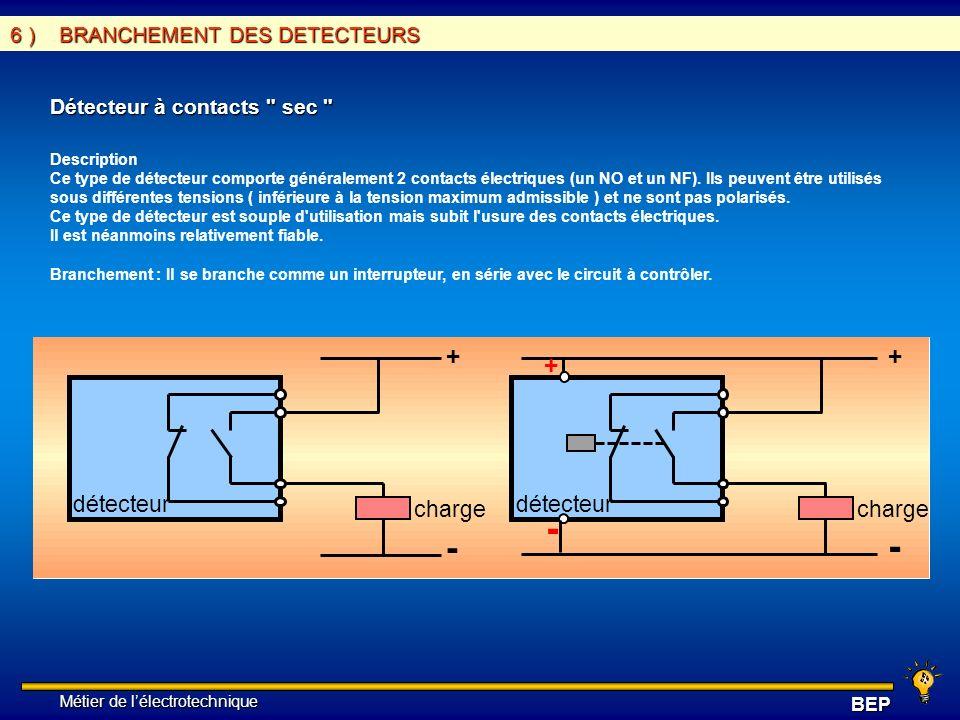 - + détecteur charge 6 ) BRANCHEMENT DES DETECTEURS