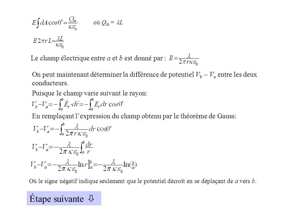 Étape suivante  Le champ électrique entre a et b est donné par :