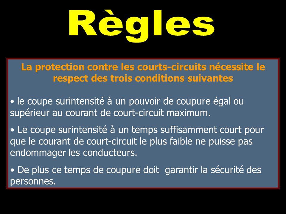 Règles La protection contre les courts-circuits nécessite le respect des trois conditions suivantes.