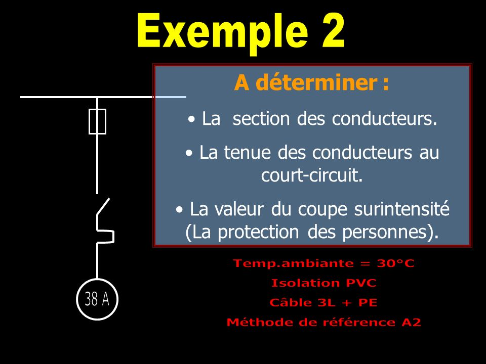 Exemple 2 A déterminer : La section des conducteurs.