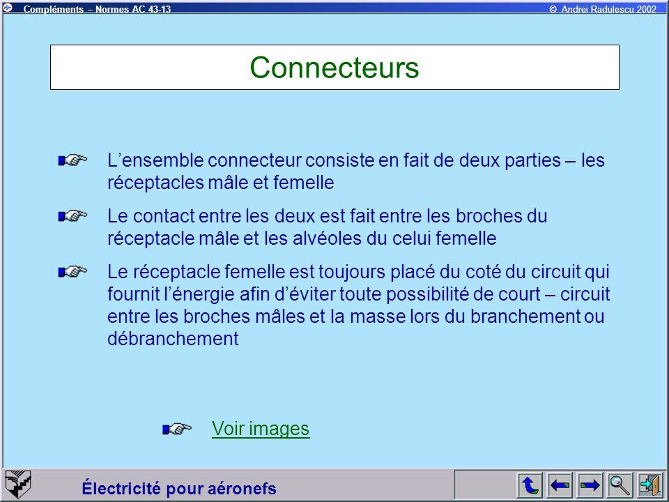 Connecteurs L'ensemble connecteur consiste en fait de deux parties – les réceptacles mâle et femelle.