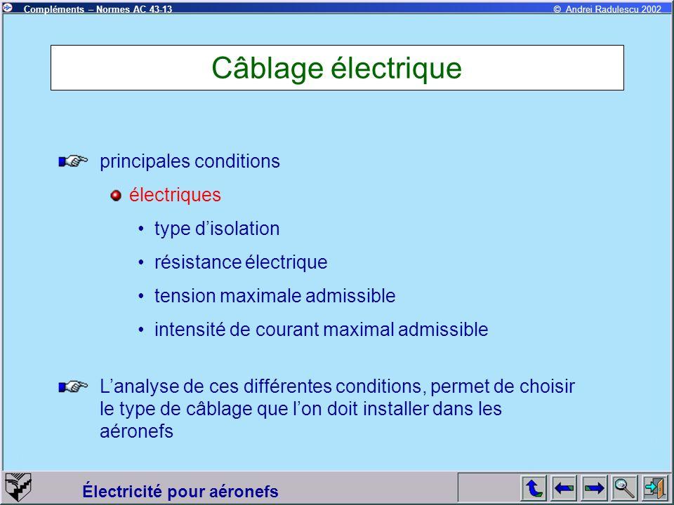 Câblage électrique principales conditions électriques type d'isolation