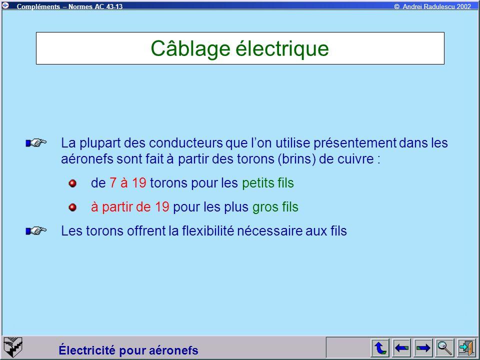 Câblage électrique La plupart des conducteurs que l'on utilise présentement dans les aéronefs sont fait à partir des torons (brins) de cuivre :