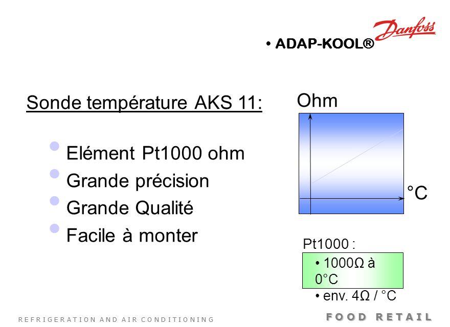 Sonde température AKS 11: Elément Pt1000 ohm Grande précision
