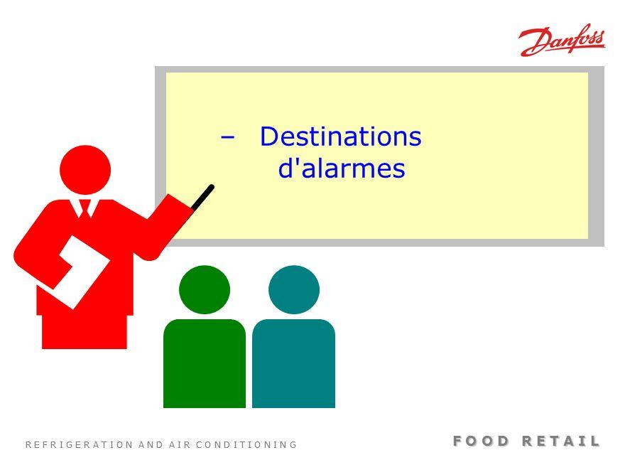 Destinations d alarmes