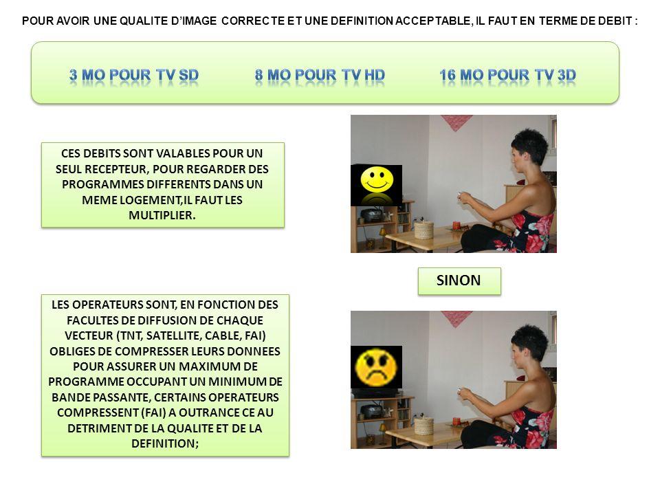 SINON 3 Mo pour TV SD 8 Mo pour TV HD 16 Mo pour TV 3D