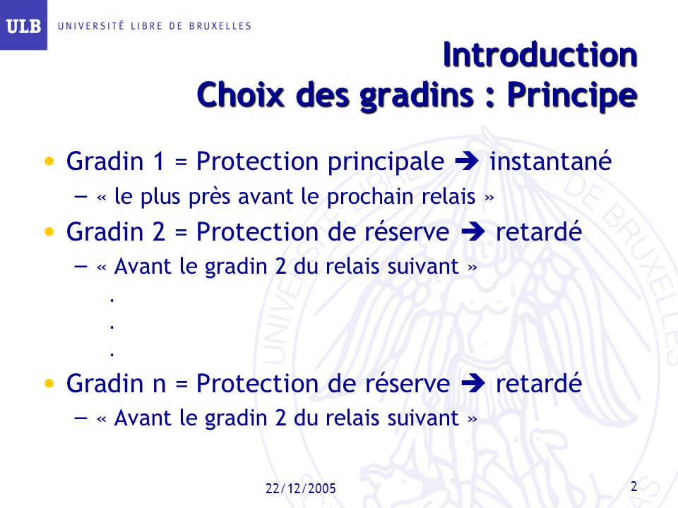 Introduction Choix des gradins : Principe