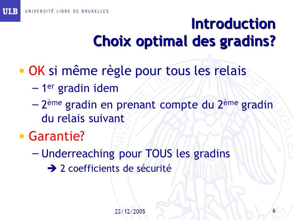 Introduction Choix optimal des gradins