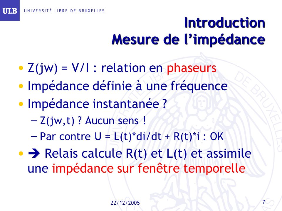 Introduction Mesure de l'impédance