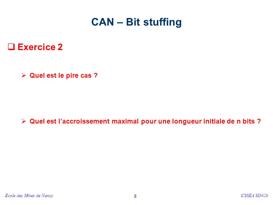 CAN – format de la trame Start of Frame (SOF) / synchronisation