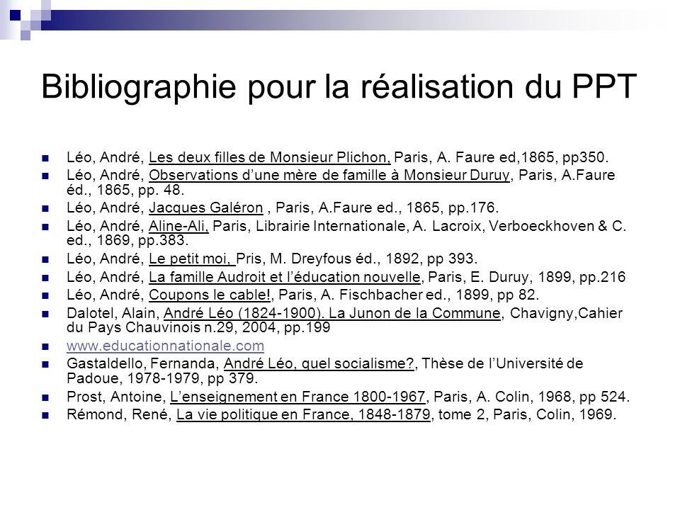 Bibliographie pour la réalisation du PPT