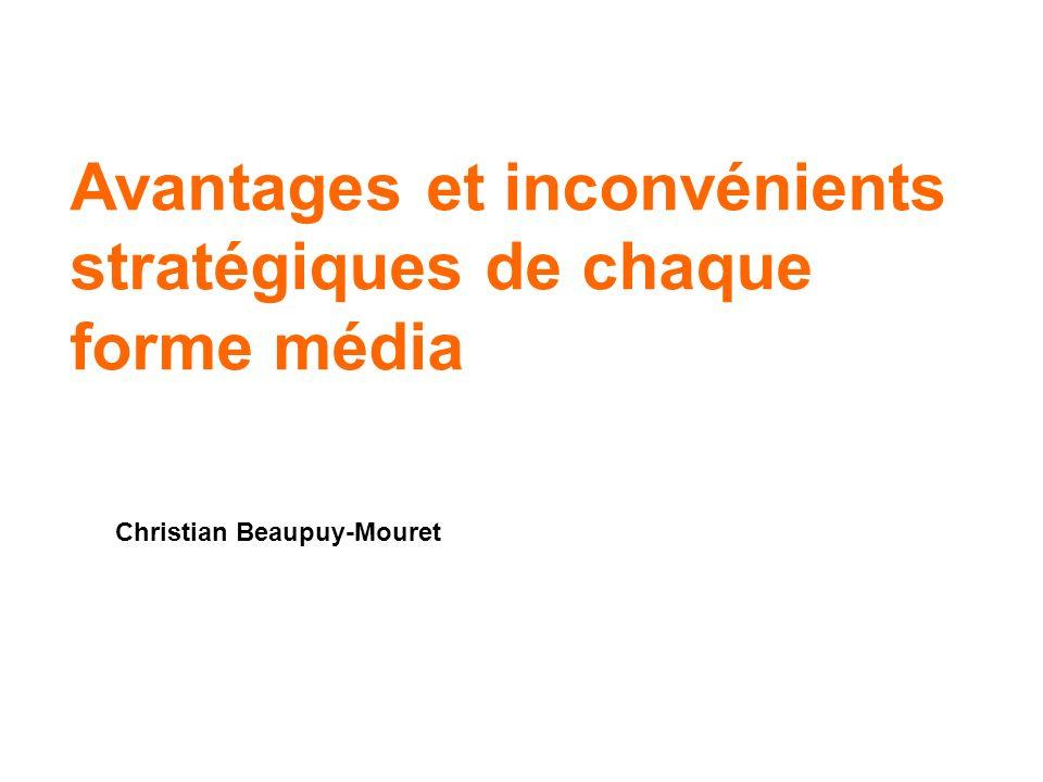 Avantages et inconvénients stratégiques de chaque forme média