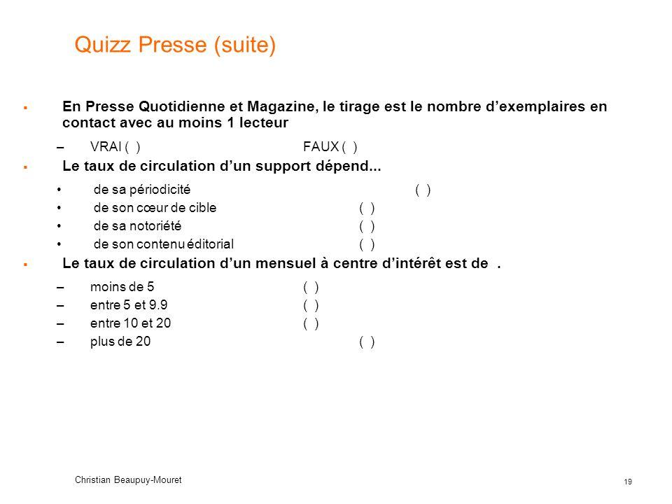 Quizz Presse (suite) En Presse Quotidienne et Magazine, le tirage est le nombre d'exemplaires en contact avec au moins 1 lecteur.