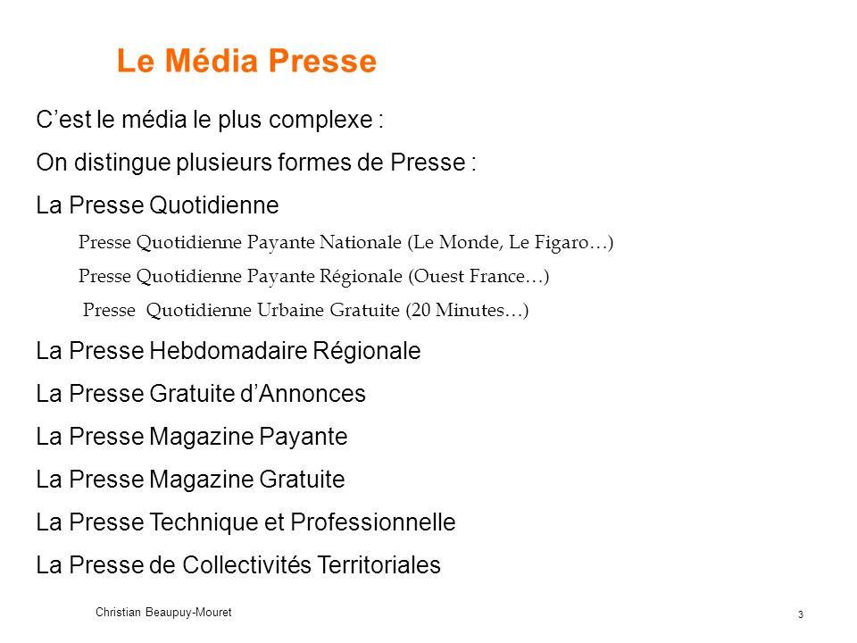 Le Média Presse C'est le média le plus complexe :