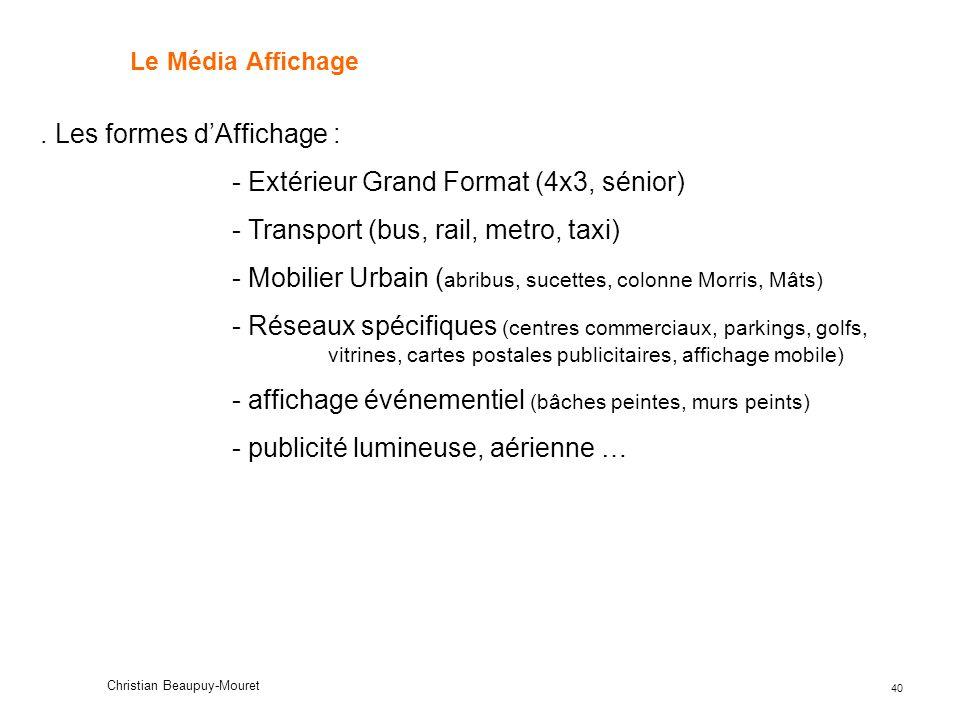 . Les formes d'Affichage : - Extérieur Grand Format (4x3, sénior)