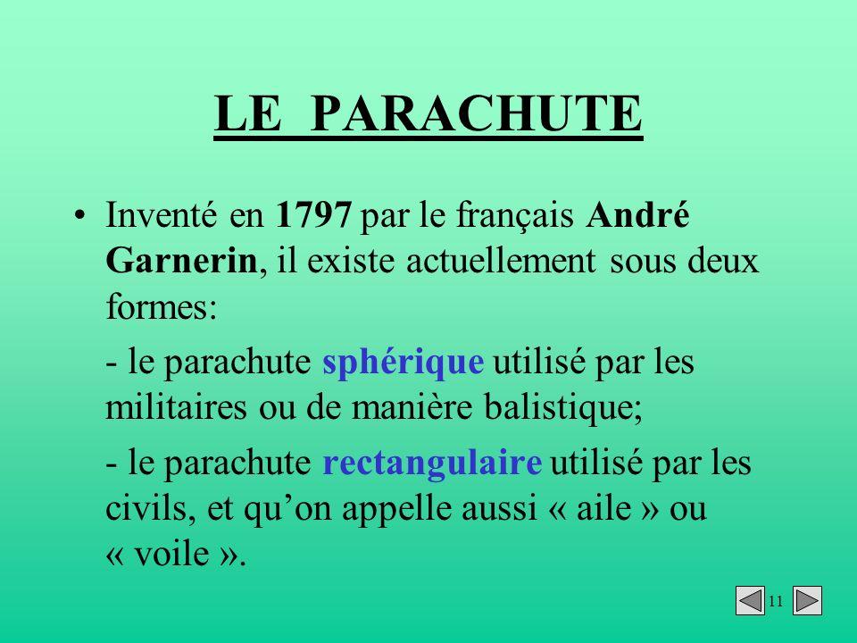LE PARACHUTE Inventé en 1797 par le français André Garnerin, il existe actuellement sous deux formes: