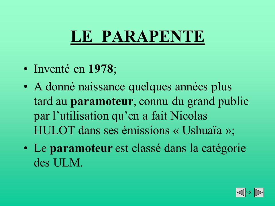LE PARAPENTE Inventé en 1978;