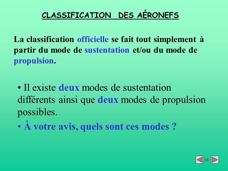 CLASSIFICATION DES AÉRONEFS