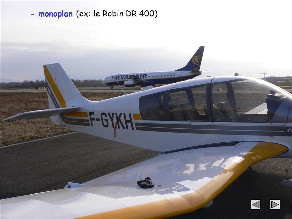 - monoplan (ex: le Robin DR 400)