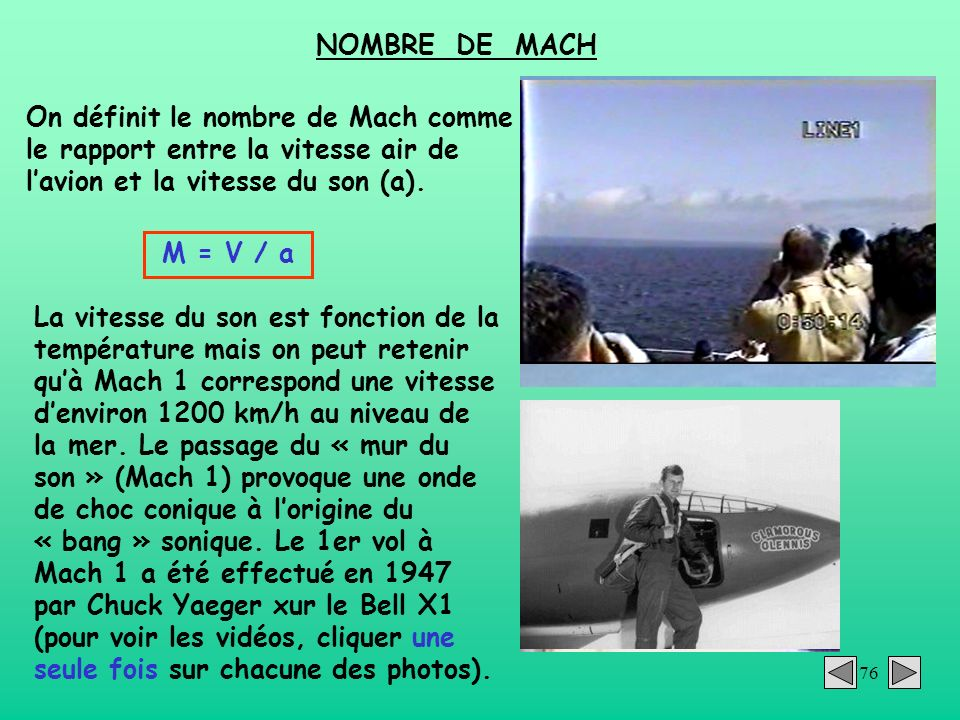 NOMBRE DE MACH On définit le nombre de Mach comme le rapport entre la vitesse air de l'avion et la vitesse du son (a).