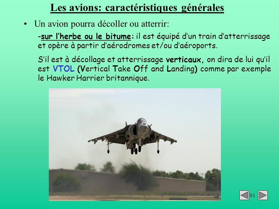 Les avions: caractéristiques générales