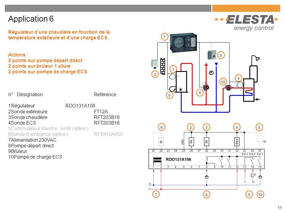 Application 6 Régulateur d'une chaudière en fonction de la température extérieure et d'une charge ECS.