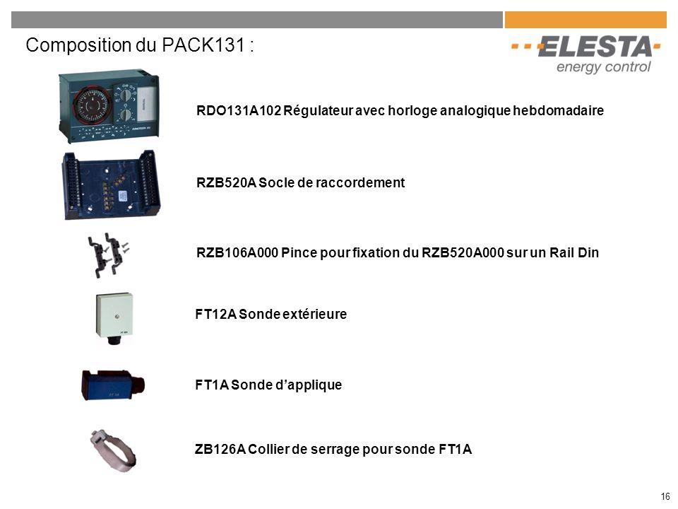 Composition du PACK131 : RDO131A102 Régulateur avec horloge analogique hebdomadaire. RZB520A Socle de raccordement.