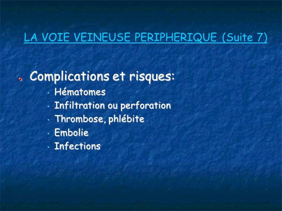 LA VOIE VEINEUSE PERIPHERIQUE (Suite 7)