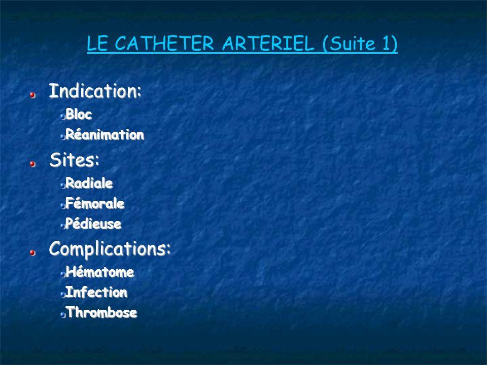 LE CATHETER ARTERIEL (Suite 1)