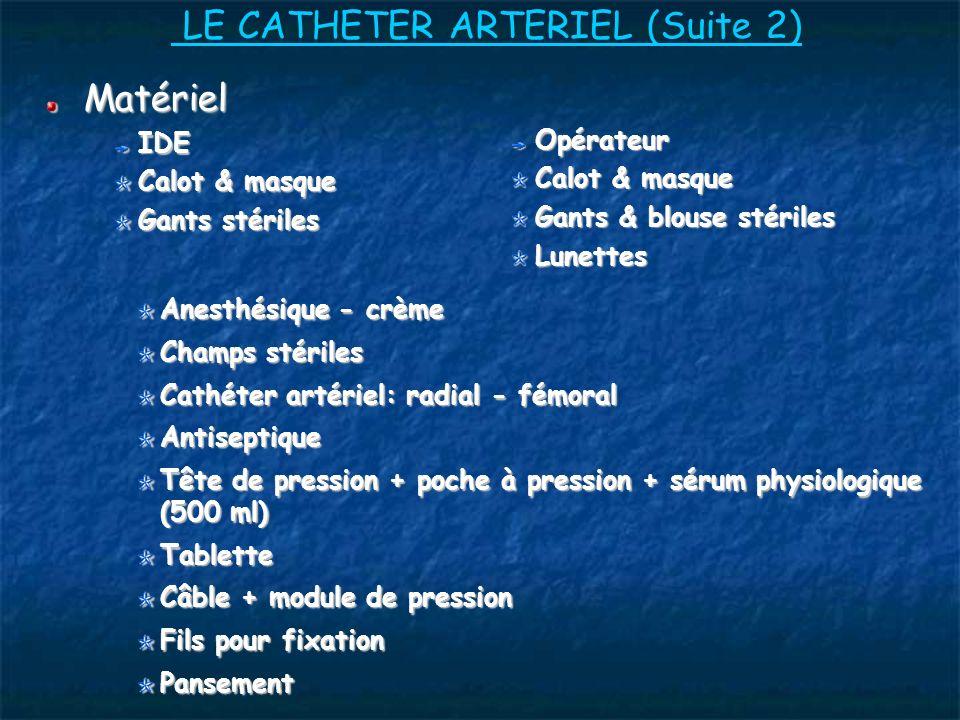 LE CATHETER ARTERIEL (Suite 2)