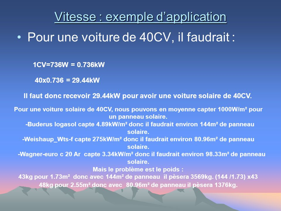 Vitesse : exemple d'application