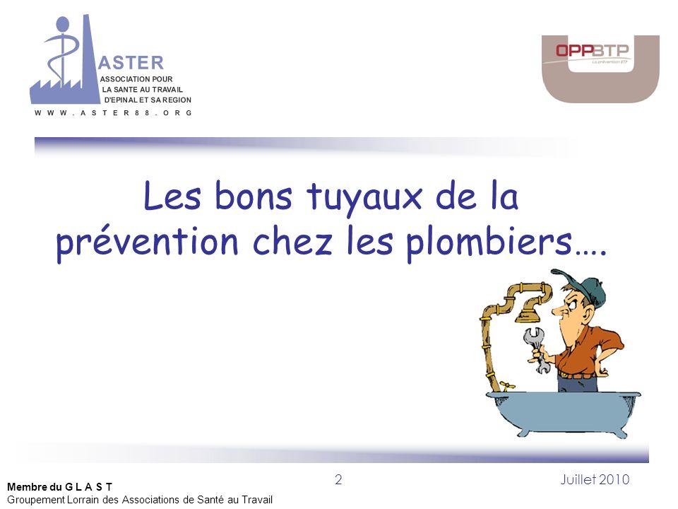 Les bons tuyaux de la prévention chez les plombiers….