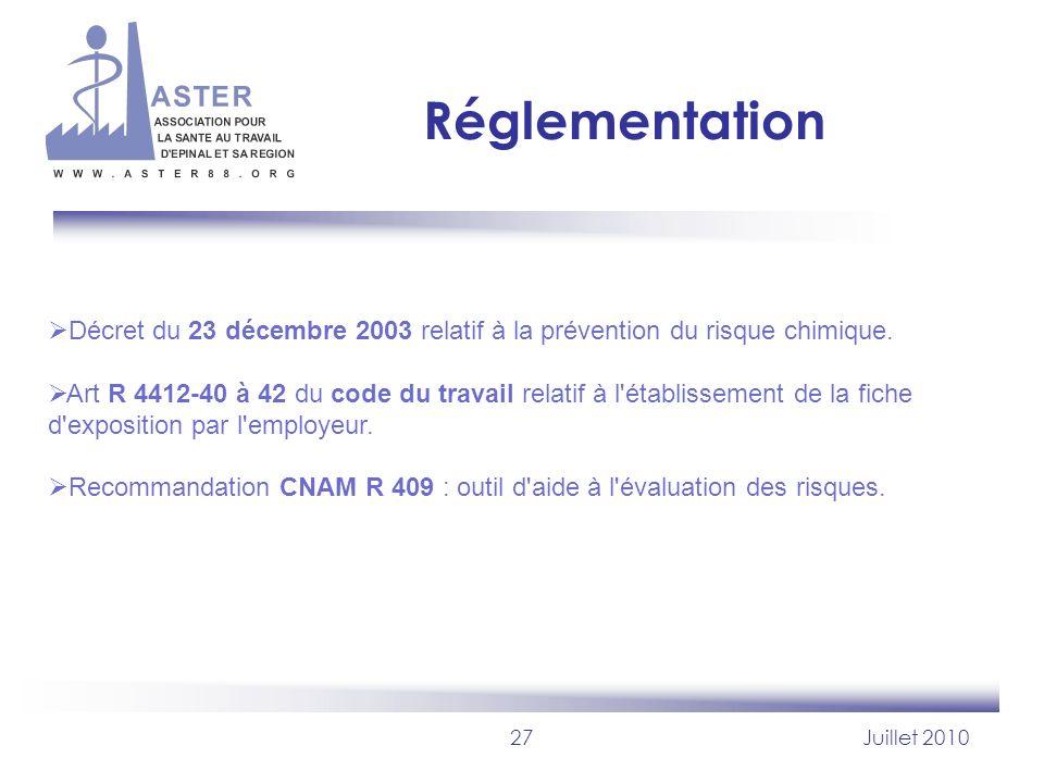 RéglementationDécret du 23 décembre 2003 relatif à la prévention du risque chimique.