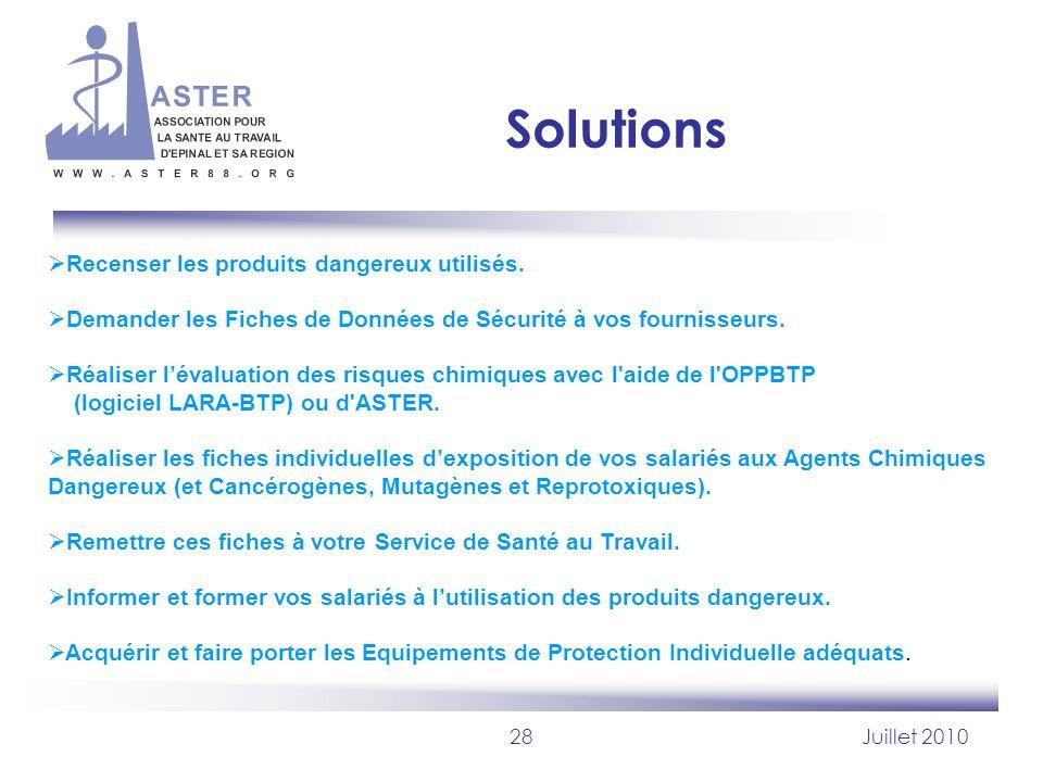Solutions Recenser les produits dangereux utilisés.