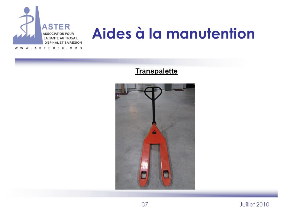 Aides à la manutention Transpalette