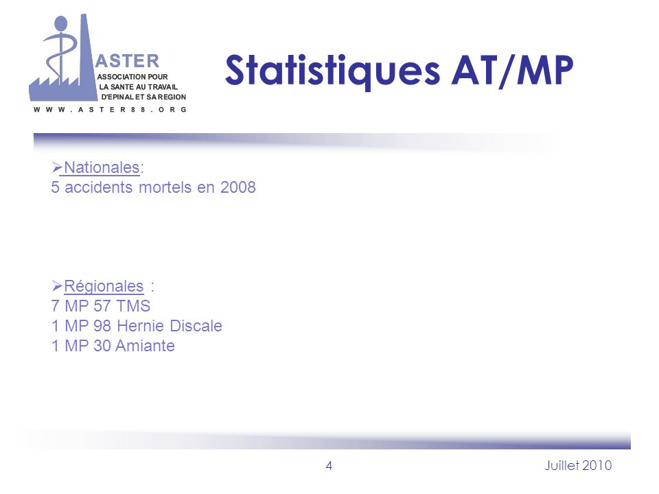 Statistiques AT/MP Nationales: 5 accidents mortels en 2008
